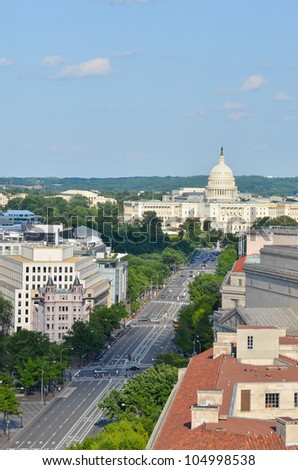 Washington DC - Aerial view of Pennsylvania street with federal buildings including US Archives building, Department of Justice and US Capitol