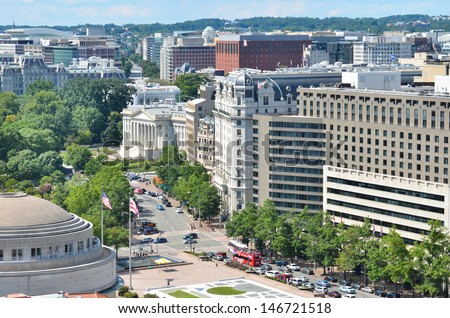 Washington DC, aerial view over Pennsylvania Avenue