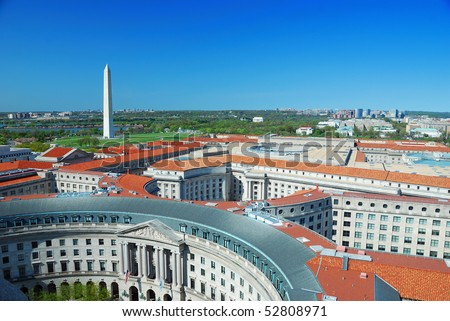 Washington DC aerial view with Washington monument and historical architecture.