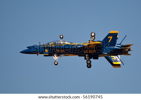 WASHINGTON DC, ANDREWS AFB- MAY 15: US Navy Demonstration Squadron Blue angels, flying on Boeing F/A-18 showing precision of flying and the highest level of pilot skills on May 15, 2010 in Washington DC.