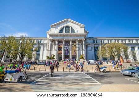WASHINGTON,DC- APRIL 10: National Museum of National History on April 10, 2014 in Washington DC,USA.It is a natural history museum administered by the Smithsonian Institution at the National Mall.