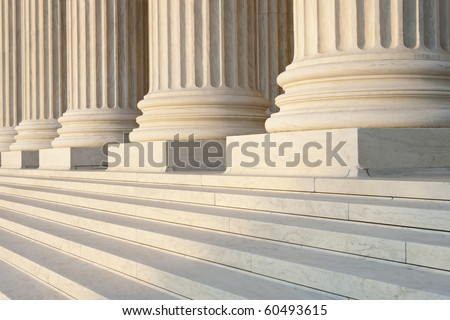 Washington DC Architectural detail of columns and marble steps. Critical focus on middle column. #60493615