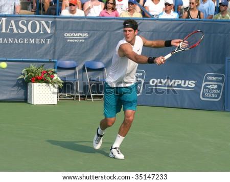 WASHINGTON DC- AUGUST 9: Juan Martin Del Potro, Argentina, (picture) defeats Andy Roddick, USA, in the Leggmason Tennis Classic final on August 9, 2009 in Washington DC..