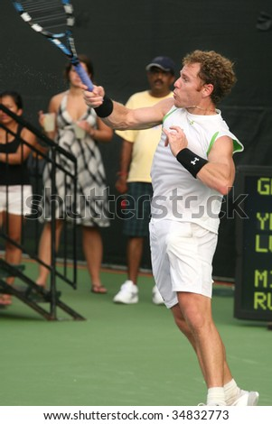 WASHINGTON DC- AUGUST 3:  Michael Russell (picture) hits a forehand against Yen-Hsun Lu during Leggmason Tennis Classic tournament on August 3, 2009 in Washington DC. Russell lost the match