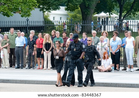 WASHINGTON DC, AUGUST 25: Protesters of the Keystone Pipeline are arrested in front of the White House on August 25, 2011 in Washington.
