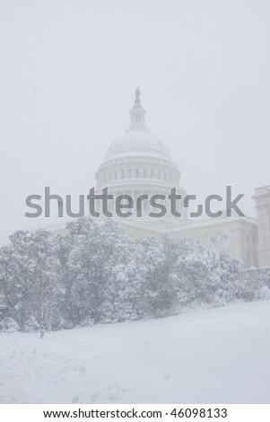 Washington, DC blizzard - stock photo