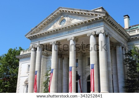 Washington DC, capital city of the United States. Memorial Continental Hall - colonial revival style architecture. #343252841