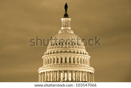 Washington DC , Capitol Building - detail, US - sephia