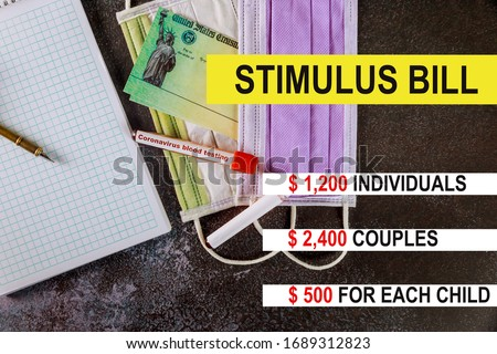 Washington DC Capitol dome with Global pandemic Covid 19 lockdown Coronavirus stimulus package relief checks from government US 100 dollar bills currency on American flag Photo stock ©
