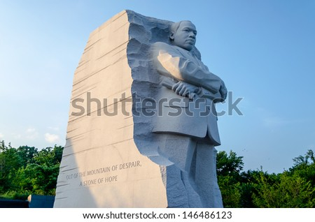 WASHINGTON, DC - CIRCA MAY 2013: The monument to Dr Martin Luther King circa May 2013. The memorial opened on August 22, 2011, after more than two decades of planning, fund-raising and construction.