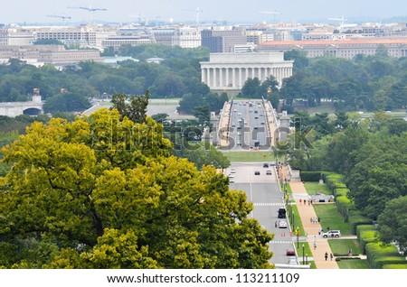 Washington DC city view in a cloudy summer day, including Lincoln Memorial, Arlington Bridge and Potomac River