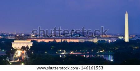 Washington DC cityscape at night including Lincoln Memorial, National Mall, Washington Monument and Arlington Memorial Bridge