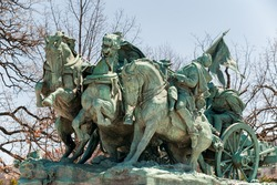 Washington DC - Civil War cavalry Statue near the Ulysses S. Grant Memorial in front o the US Capitol Building