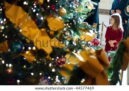 WASHINGTON, DC - DEC 22: Amanda Wilson-Black, 7, of Washington, DC, looks at a Christmas tree in the Blue Room (White House), with ornaments sent by children on December 22, 2009, in Washington, DC.