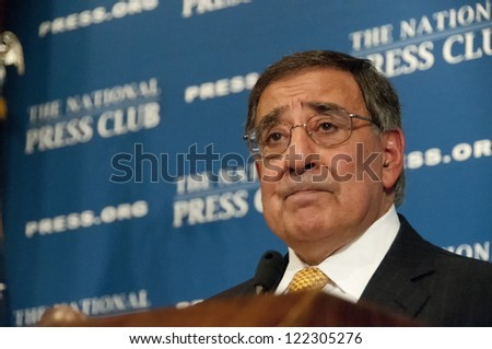 WASHINGTON, DC - DEC 18: Secretary of Defense Leon Panetta addresses a luncheon at the National Press Club, December 18, 2012 in Washington, DC