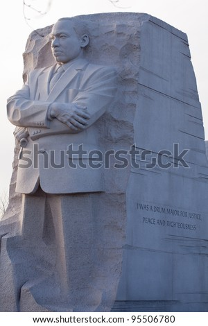 WASHINGTON, DC - FEB 13: The Dr. Martin Luther King memorial on Feb 13, 2012 in Washington DC.  The Government agreed on Feb 12, 2012 to modify the engraving on the statue.