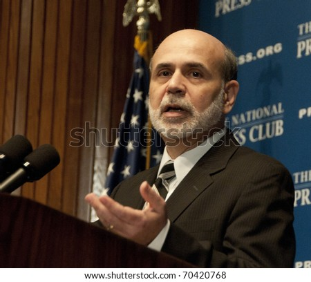 WASHINGTON, DC - FEBRUARY 3:  Chairman Ben Bernanke of the U.S. Federal Reserve speaks at the National Press Club, February 3, 2011 in Washington, DC