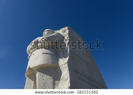 WASHINGTON, DC - FEBRUARY 17: Memorial to Dr. Martin Luther King on February 17, 2013. The memorial is America's 395th national park.