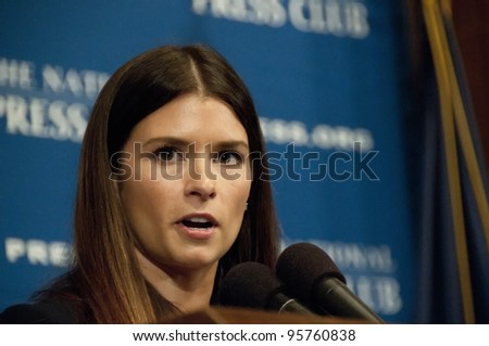 WASHINGTON, DC - FEBRUARY 21:  Star race car driver Danica Patrick speaks at a luncheon at the National Press Club, February 21, 2012 in Washington, DC