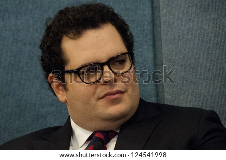 "WASHINGTON, DC - JAN. 9: Josh Gad (Co-producer of ""1600 Penn"" who also plays the President's son Skip Gilchrist) in an appearance at the National Press Club, January 9, 2013 in Washington, DC"