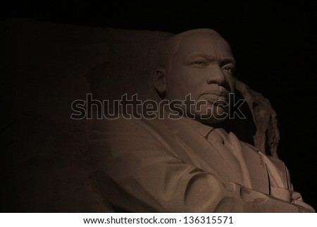 WASHINGTON DC - JAN 21: Nighttime closeup of the Martin Luther King Jr Memorial in Washington DC on Jan 21, 2012.