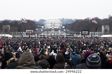 WASHINGTON, DC - JAN 18: People crowd the Lincoln Memorial for an all-star concert celebrating the 2009 inauguration of Barack Obama.