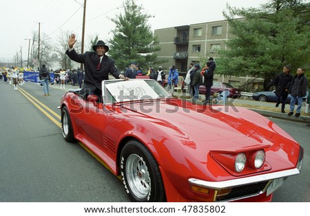 WASHINGTON, DC - JANUARY 15: Marion Barry rides in a convertible red Corvette as the grand marshall of the Martin Luther King Day Parade on Jan. 15, 2001 in Washington, DC.