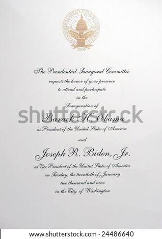 Washington, DC. January 20, 2009. The Official Invitation to the Inauguration of President Barack Obama and Vice President Joseph Biden - stock photo