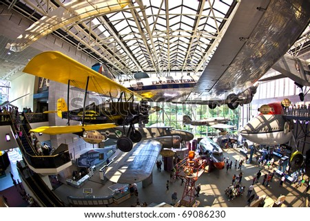 WASHINGTON DC - JULY 10: National Air and Space museum in Washington  holds the largest collection of historic aircraft and spacecraft in the world. Open for public at July 14,2010, Washington, USA.