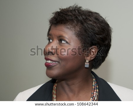 WASHINGTON, DC - JULY 24: PBS newscaster and anchor Gwen Ifill shows her smile  before her address to the National Press Club, July 24, 2012 in Washington, DC.