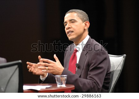 WASHINGTON, DC - JUNE 4, 2007: Barack Obama is interviewed by Soledad O'Brien during the Sojourners and CNN presidential candidates forum on faith, values, and poverty.