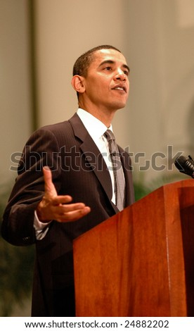WASHINGTON, DC - JUNE 27, 2006: Barack Obama speaks on issues of faith and politics at the 2006 Sojourners and Call to Renewal conference held at National City Christian Church.