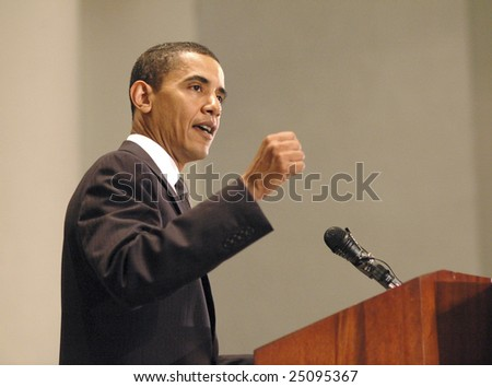 WASHINGTON, DC - JUNE 27: Barack Obama speaks on issues of faith and politics at the Sojourners and Call to Renewal conference held at National City Christian Church on June 27, 2006.