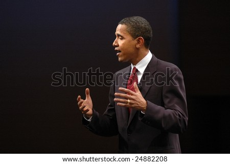 WASHINGTON, DC - JUNE 4, 2006: Barack Obama speaks to the audience during CNN and Sojourners' 2007 forum on faith, values, and poverty.