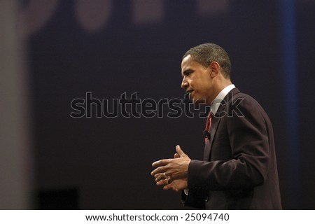 WASHINGTON, DC - JUNE 4: Barack Obama speaks to the audience during CNN and Sojourners' forum on faith, values, and poverty on June 4, 2007.