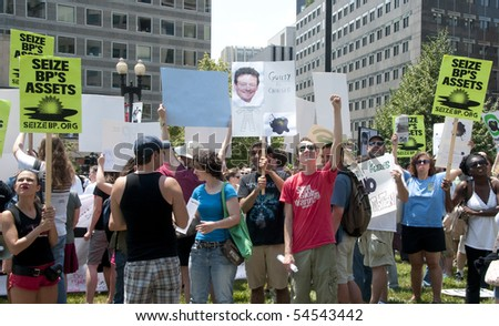 WASHINGTON, DC - June 4: Demonstrators protest BP oil spill, demand environmental justice, June 4, 2010 in Washington, DC
