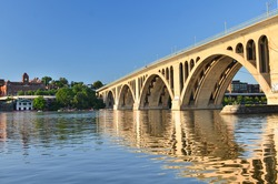 Washington DC - Key Bridge and reflection over Potomac River