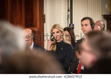 Washington, DC – March 17, 2017: Ivanka Trump listens to the press conference held by President Donald Trump and Chancellor Angela Merkel at the White House.
