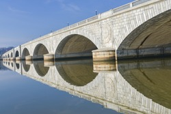 Washington DC - Memorial Bridge and mirror reflection on Potomac River