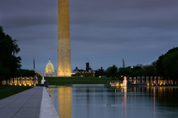 Washington DC Monument and the US Capitol Building  with storm skies, Washington DC in the morning before rain storm