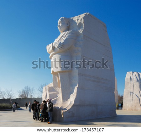 WASHINGTON DC - NOV 29: The Martin Luther King, Jr. Memorial on Nov 29, 2013 in Washington DC, USA. Located in West Potomac Park, it commemorates the year the Civil Rights Act of 1964 became law.