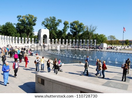 WASHINGTON, DC - OCTOBER 18: Alzheimer's Walk Event on October 18, 2008 in Washington, DC USA.  People at the World War II Memorial in Washington DC for the Alzheimer's fund raising event.