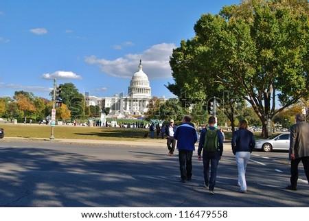 WASHINGTON, DC - OCTOBER 21: Downtown Washington DC Streets, and Transport System on October 21, 2011 in Washington DC,USA. Washington has various modes of transportation, and lifestyle.