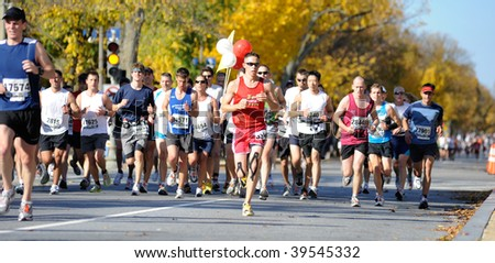 WASHINGTON, DC - OCTOBER 25:  Runners compete in the Marine Corps Marathon on October 25, 2009 in Washington, D.C.