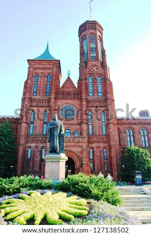 WASHINGTON, DC - OCTOBER 21: Smithsonian Castle on October 21, 2012 in Washington DC,USA.Smithsonian Castle is a famous attraction in Washington DC, and people from all over the world come to visit