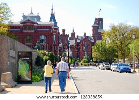 WASHINGTON, DC - OCTOBER 21: Smithsonian Castle on October 21, 2012 in Washington DC,USA. Smithsonian Castle is a famous attraction in Washington DC, and people from all over the world come to visit.