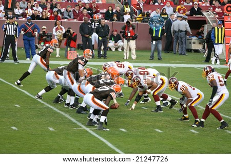 Washington, DC - October 19: Washington Redskins defending against Cleveland Browns at Fedex Stadium in Washington, DC, on October 19, 2008. Redskins won 14-11