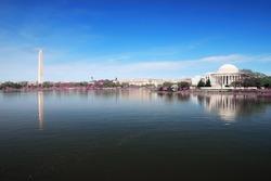 Washington DC panorama with Washington monument and Thomas Jefferson memorial.