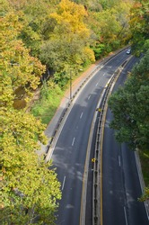 washington dc rock creek parkway in autumn - aerial view