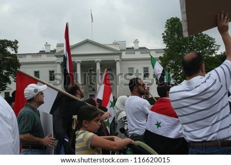 WASHINGTON DC - SEP 24 2011: Protest against Assad of Syria in front of the White House in Washington D.C. on September 24, 2011.